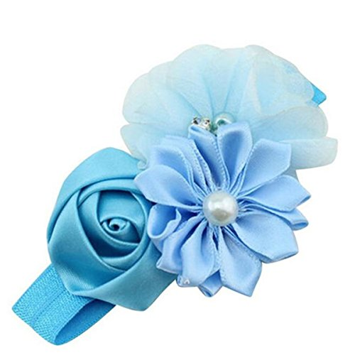 POachers Bandeaux Fille Bébé Fille Fleur Perle Bande de Cheveux Lapin Bandeaux Elastique Serre Tete Photographie (Bleu)