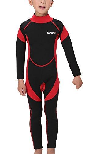 Hisea Kinder Neopreneanzug Badeanzug Weisuit Mädchen 2.5MM Tauchanzug Schwimmanzug Einteiler Unisex UV-Schutz Langarm Wetsuit für Wassersport-6-7 Jahre Alt-Rot