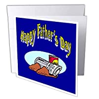 Sandy Mertens父デザイン – Happy Fathers Day with Newpaper、スリッパ、ビール – グリーティングカード Set of 12 Greeting Cards