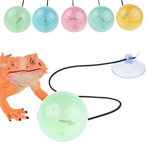 YUYUSO 5 Pack Reptile Toy Balls with Suction Cups and Ropes to Provide Exercise and Entertainment for Bearded Dragon Lizard and Gecko