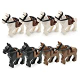SPRITE WORLD Action War Horse Animals Building Blocks Toy 8pcs/Set with Saddles and Reins for Battleground Zoon Farm Model Educational Toys Compatible Major Block