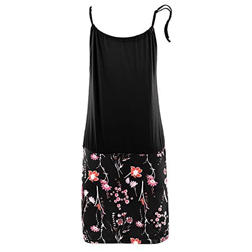 heekpek Vestido de Playa Corto Halter Estampado de Flores Bohemia Sin Mangas Casual