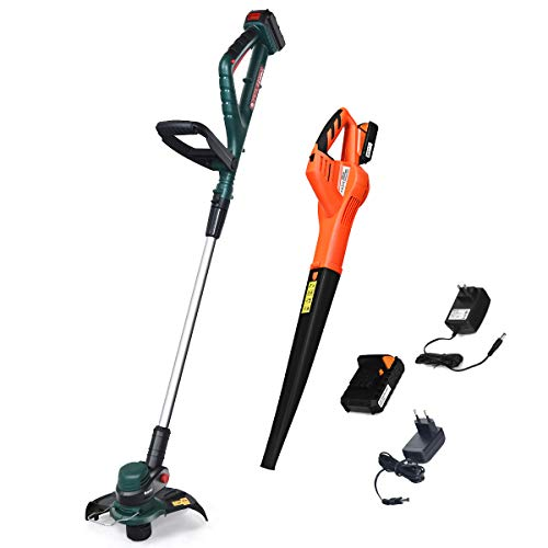 Goplus Cordless String Trimmer/Edger, with 20V 2 Ah Lithium Ion Battery and Charger, 10 inches Width (Green String Trimmer+Orange Leaf Blower)