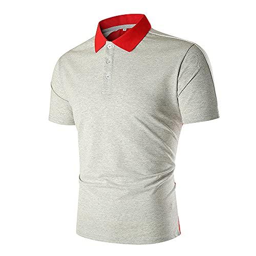 Polo Hombres Empalme Básico Hombres Ocio Shirt Modernos Tapeta con Botones Manga Corta T-Shirt Negocios Golf Deporte Al Aire Libre Ligeros Urbanos Hombres Shirt Funcional B-Grey and Red M