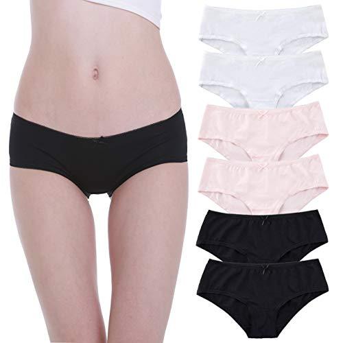 Falechay-Unterhosen-Damen-Baumwolle-Unterwäsche 6er Pack Slips Hipsters Spitze Panties Schwarz Weiß Rosa M