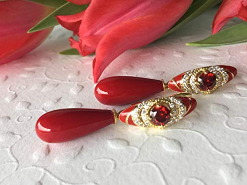 Rote Zirkonia Ohrringe mit Mallorca-Perlen vergoldet, festlich