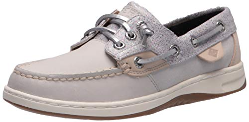 Sperry Womens Rosefish Sparkle Boat Shoe, Grey,6.5