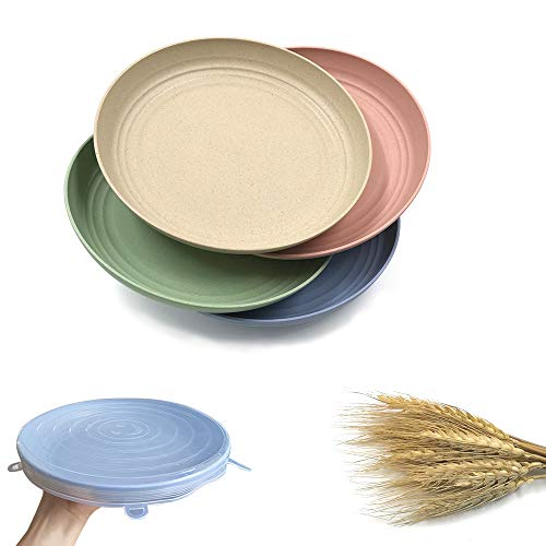 4 Pieces Lightweight Wheat Straw Plates with a Piece of Silicone Stretch Lid, 10″ Unbreakable Dinner Plates for Children Toddler and Adult (10in)
