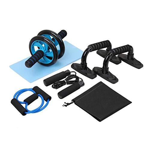 Equipo de entrenamiento de cuerpo completo con rueda de prensa abdominal, empuñaduras de empuje hacia arriba, almohadilla para la rodilla, ejercitadores manuales, cuerda para saltar, área de rodadura