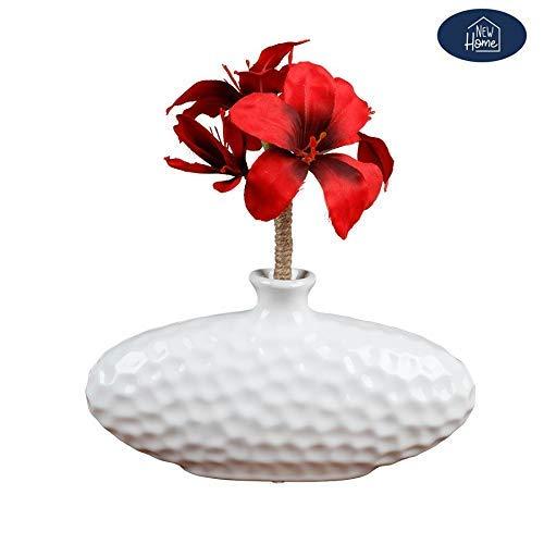 new home Keramik Vase oval weiß Blumenvase Dekovase Tischdeko Keramikvase Dekoration