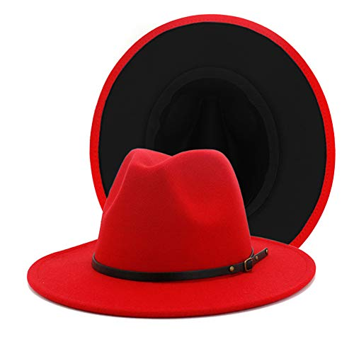 Gossifan Womens Wide Brim Panama Hat Patchwork Colors Classic Buckle Fedora Red/Black