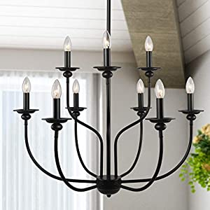 LALUZ Black Chandelier, Farmhouse Light Fixture, 2-Tier 9-Candle French Country Chandelier for Living Room, Foyer, Bedroom