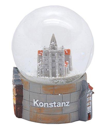 30056 Souvenir Schneekugel Konstanz Münster Rathaus Konzil mit Bodensee Rheinturm 65mm Durchmesser