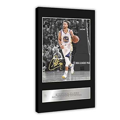 Stephen Curry - Póster firmado con estrella de baloncesto para dormitorio, decoración deportiva, paisaje, oficina, habitación, marco de regalo, 30 x 45 cm