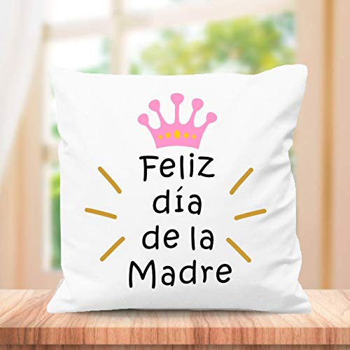 SUPER STICKER Cojín Cuadrado Personalizado, para el Mejor mamá del Mundo, Regalo día de la Madre, Feliz día de la Madre(m7)