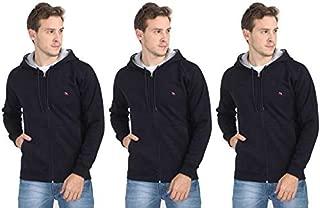 Quco Men's Cotton Fleece Hood Sweat Shirt Combo Pack of 3- (Navy)