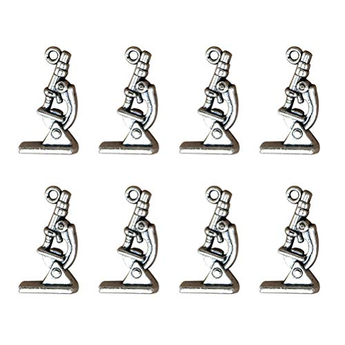 FENICAL 20pcs Microscope Charms Pendants DIY Jewelry Making Charms for Necklace Bracelet Earring Crafting Jewelry Making (Silver)