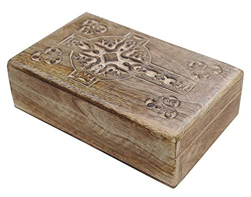 KayJayStyles Hand Carved Jewelry Trinket Keepsake Wooden Storage Box (Large, Celtic Cross)