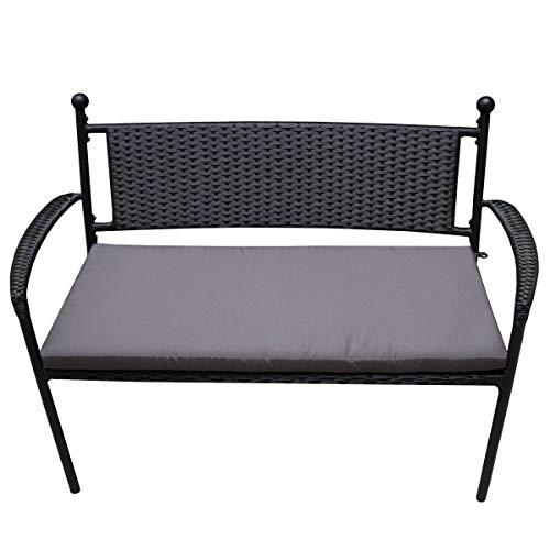 PrimoLiving Elegante polyrotan tuinbank met zachte zitkussen in donkergrijs zwart