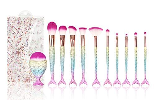 Kit com 11 pincéis de maquiagem Pincel Sereia (Colorido)
