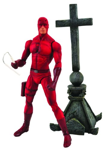 """A Diamond Select release Depicts Daredevil in his classic red costume Figure features a detailed facial sculpt by Sam Greenwell Figure has 14 points of articulation Stands 7"""" tall on base and backdrop is 8"""""""