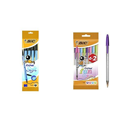 BIC Cristal Soft bolígrafos punta media (1,2 mm) - Negro, Blíster de 4 unidades + Fun Bolígrafos Punta Ancha (1,6 mm) – Surtidos, Blíster de 6+2 Unidades