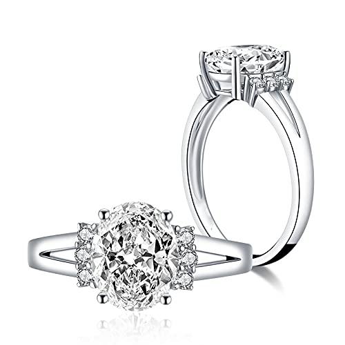 YANGYUE Joyería de Plata de Ley 925 para Mujer, Anillo de Diamante sintético Ovalado de 3 Quilates, Anillos de Plata de Compromiso de Boda, Boda