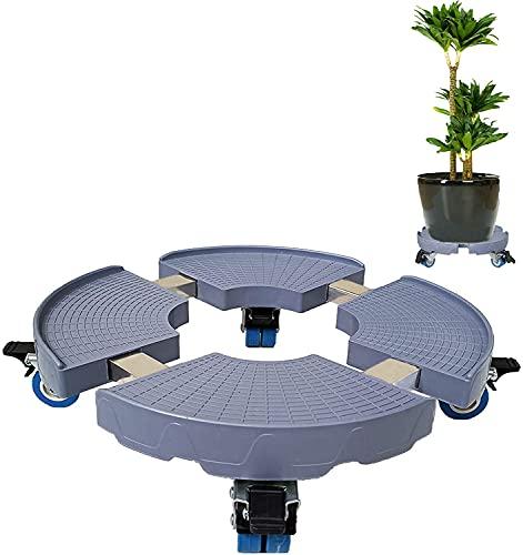 Blauwe bloempot basishouder met wielen, 440 lbs capaciteit, 15-19 inch verstelbare binnen/buiten caddy ronde bloempot rek op rollen