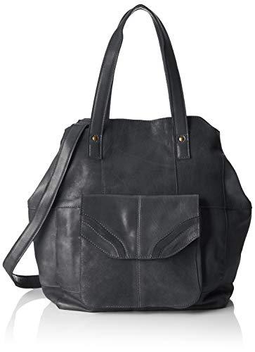 PIECES Damen Pcgro Leather Shopper Schultertasche, Schwarz (Black), 18,5x38x49 cm
