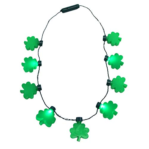 TG,LLC Treasure Gurus St Patrick's Day Flashing Clover Bulb Shamrock LED Light Up Necklace Party Novelty