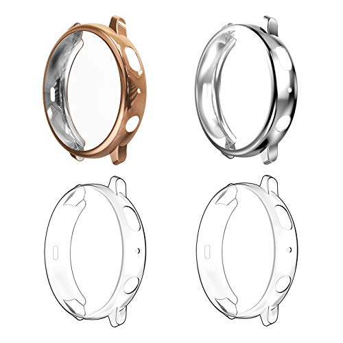 WD&CD (4 Pack) Case Compatible with Samsung Galaxy Watch Active 2 40mm, Screen Protector Heavy- Full Around Soft TPU Anti-Scratch Smartwatch Protective Cover - Transparent, sillver, Rosegold