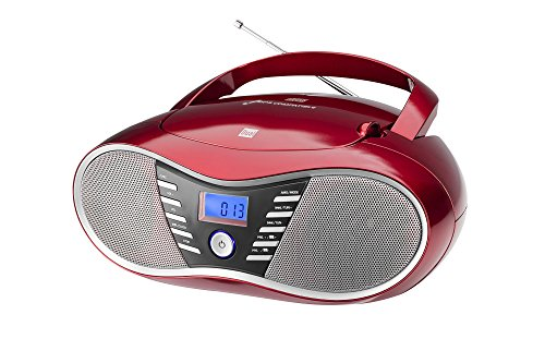 Dual P 60 BT Portable Boombox (UKW-Radio, CD-Player, Bluetooth für Audiostreaming, USB-Anschluss) Rot