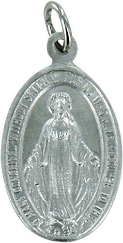 Ferrari & Arrighetti Medalla Milagrosa de Aluminio Plateado con el Texto en inglés - 1,2 cm (Paquete de 100 Piezas)
