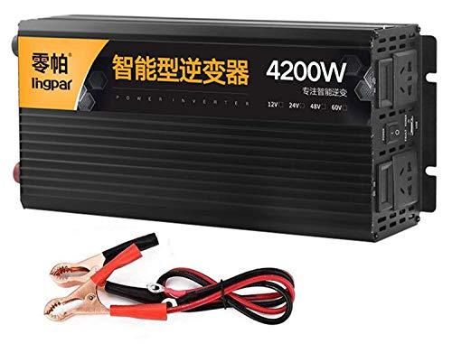 Nuevo inversor de energía de Onda sinusoidal Pura 2500w 3200w 4200w 5200w (Potencia máxima) Convertidor de CC 12 V / 24 V a 240 V CA, con Salidas de CA Dobles y USB con Pantalla LCD, 12 V-5200 W