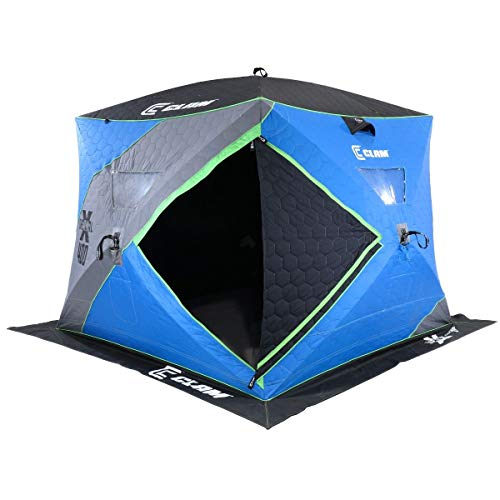 CLAM 14469 X400 X Series Thermal 4-6 Person 4 Sided Outdoor Portable Pop Up Winter Ice Fishing Shelter Tent Shack