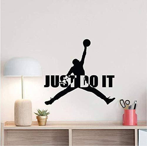 Basketball Wandtattoo Just Do It Michael Jordan Zitat Jumpman Zeichen Poster Motivational Gym Vinyl Aufkleber Home Fitness Decor74x79 cm