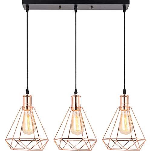 HOXIYA 3 Light Pendant Light Metal Diamond Hanging Lamp Rose Gold Finish Vintage Hanging Ceiling Light Fixtures UL Listed E26 for Island Light Living Room Coffee Bar