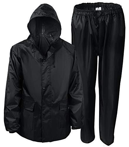 SaphiRose Regenanzug mit Kapuze, wasserdicht, für Herren und Damen, für Angeln, Jagd, Jacke und Hose (Schwarz, Größe S)