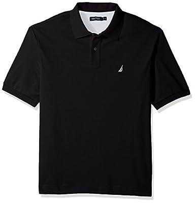 Nautica Men's Classic Fit Short Sleeve Solid Soft Cotton Polo Shirt, true black, 4X