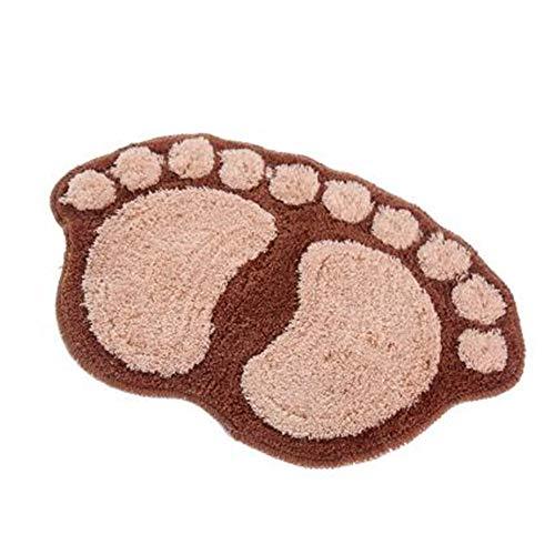 Bath pad Door Floor mat Bathroom Mini Rug Water-Absorbing Big feet mat 60X40CM S Coffee