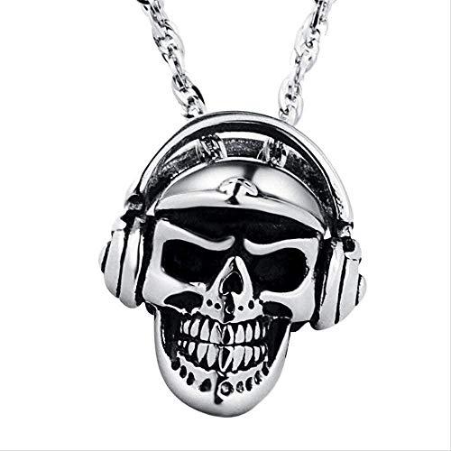 Yiffshunl Collier Bijoux Hommes tête de crâne Collier avec Casque Bluetooth Pendentif Collier en Acier Inoxydable Mode Or écouteurs Pendentif