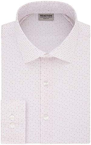 Kenneth Cole REACTION Men s Dress Shirt Slim Fit Technicole Stretch Print Pink Sorbet 16 Neck product image