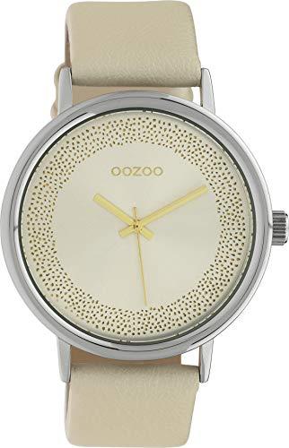 Oozoo Damenuhr mit Glitzer Zifferblatt und Lederband 42 MM Champagner/Champagner C10097