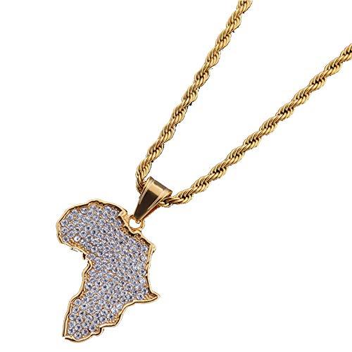 Ccyyy Afrika Kaart Hanger Hiphop roestvrij staal volledige diamanten hanger gouden trui ketting