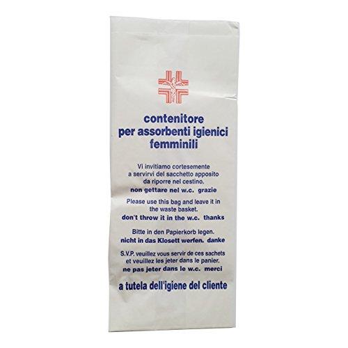 100 SACCHETTI IGIENICI DI CARTA PER ASSORBENTI 28,5 X 12 CM per WC toilette bagni pubblici negozi esercenti Scritte in ITALIANO INGLESE TEDESCO FRANCESE