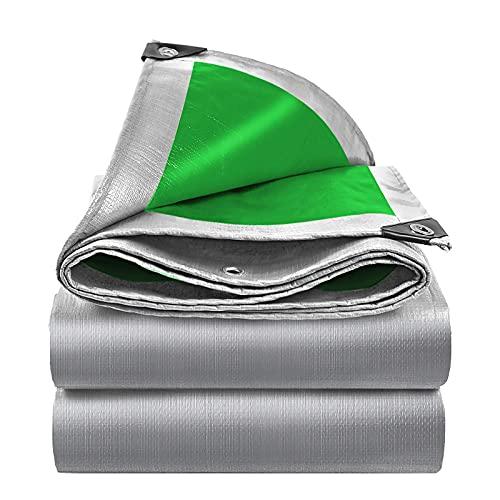Plastico Lona Impermeable 160g / m², Toldos Plastico Verde Plateado Perforado, Adecuado Para Pérgola Exterior/Techo/Jardín/Cubierta Protectora De Cultivo (5x6m/16.4x19.7ft)