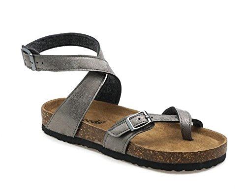 OUTWOODS Women's Bork-39 Vegan Leather Adjustable Ankle Strap Toe Loop Sandals (Pewter, 10 M (B))
