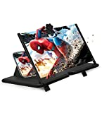 12' Phone Screen Magnifier 3D Screen Amplifier HD Mobile Phone Magnifier, Videos and Gaming– Foldable Phone Stand with Screen Amplifier–Supports All Smartphones(Black)