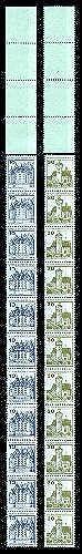 Goldhahn Berlin Letterset postfrisch  11er Streifen + 4 Leerfelder Briefmarken für Sammler
