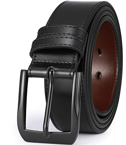 "Beltox Fine Men's Casual Leather Jeans Belts 1 1/2"" Wide 4MM Thick Alloy Prong Buckle Work Dress Belt for Men(Black Belt with Black Buckle,48-50)"